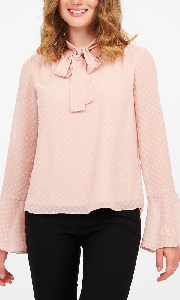 Long Flare Sleeves Polka Dot Print Blouse