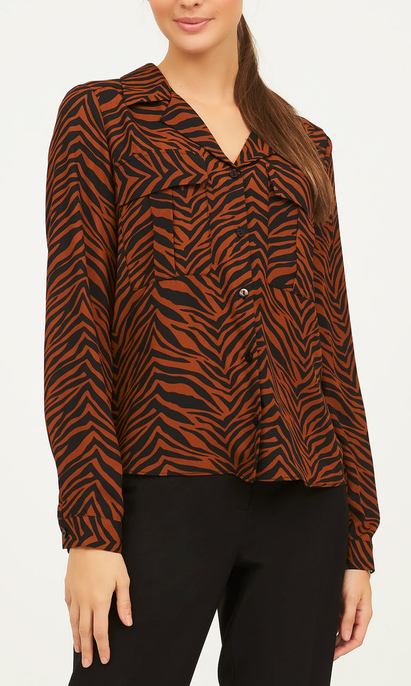Long Sleeve Printed Chiffon Button-Down Blouse