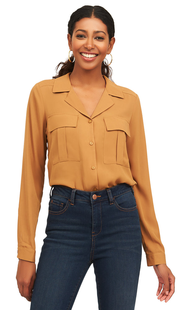 Long Sleeve Chiffon Button-Down Blouse