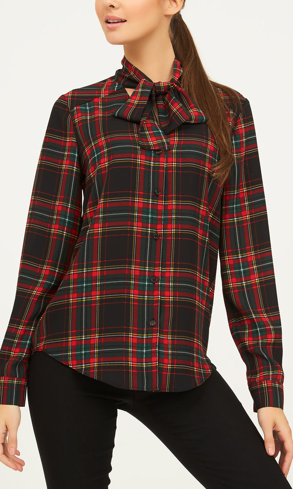 Plaid Chiffon Blouse With Neck Tie