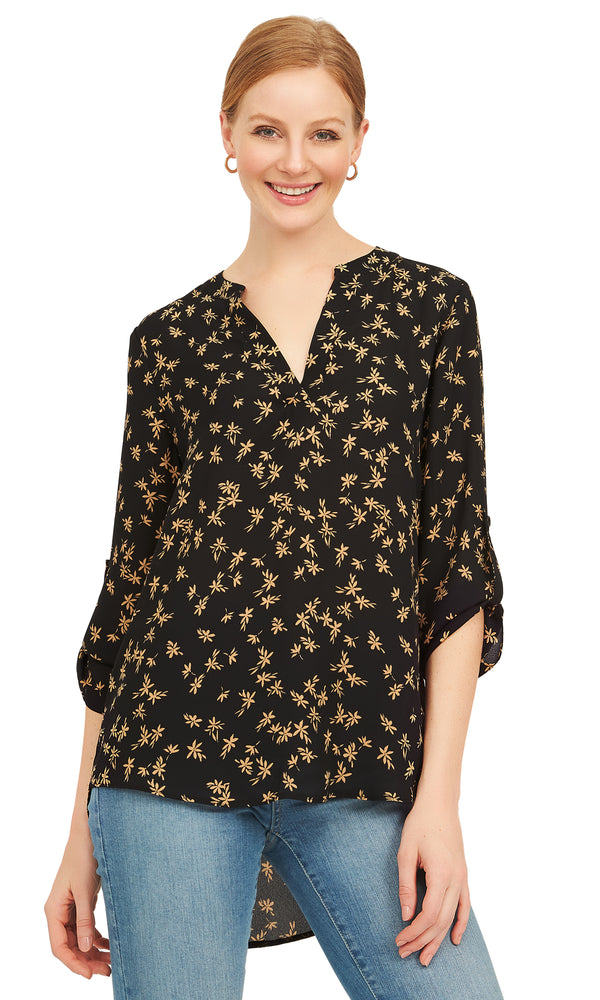 ¾ Rolled Up Sleeve Chiffon Blouse