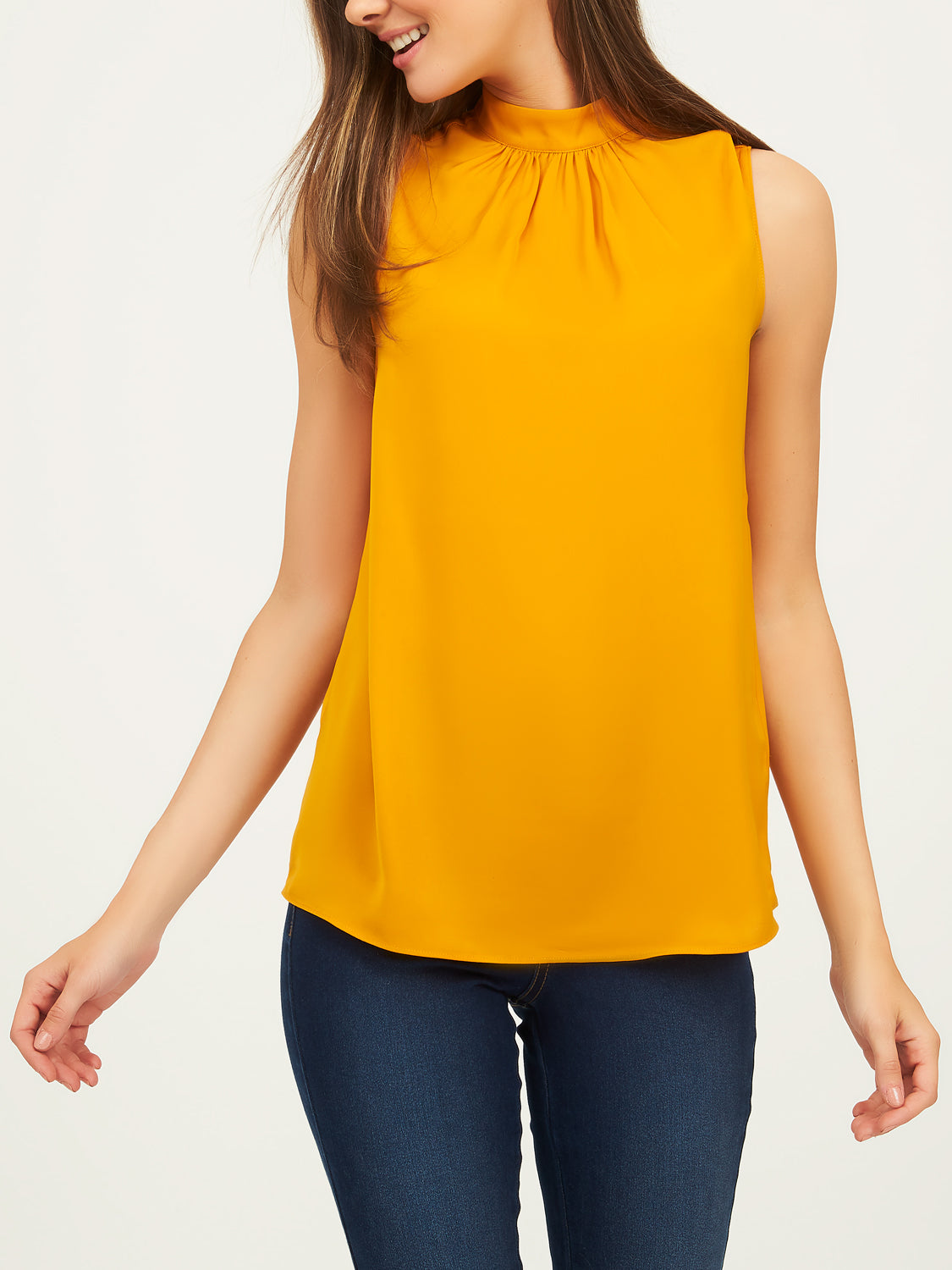 Sleeveless Satin Mock Neck Blouse
