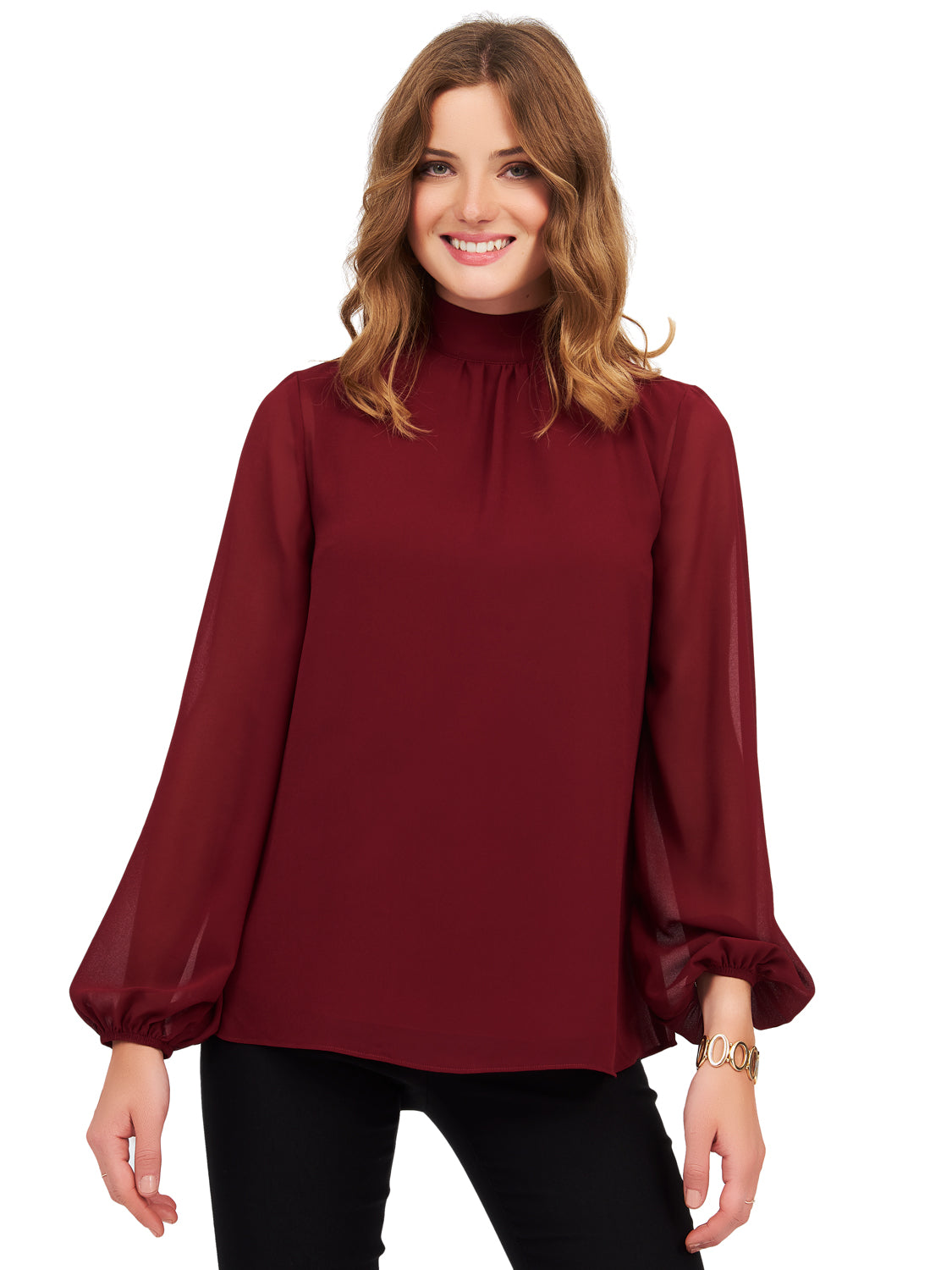 Long Balloon Sleeve Mock Neck Blouse