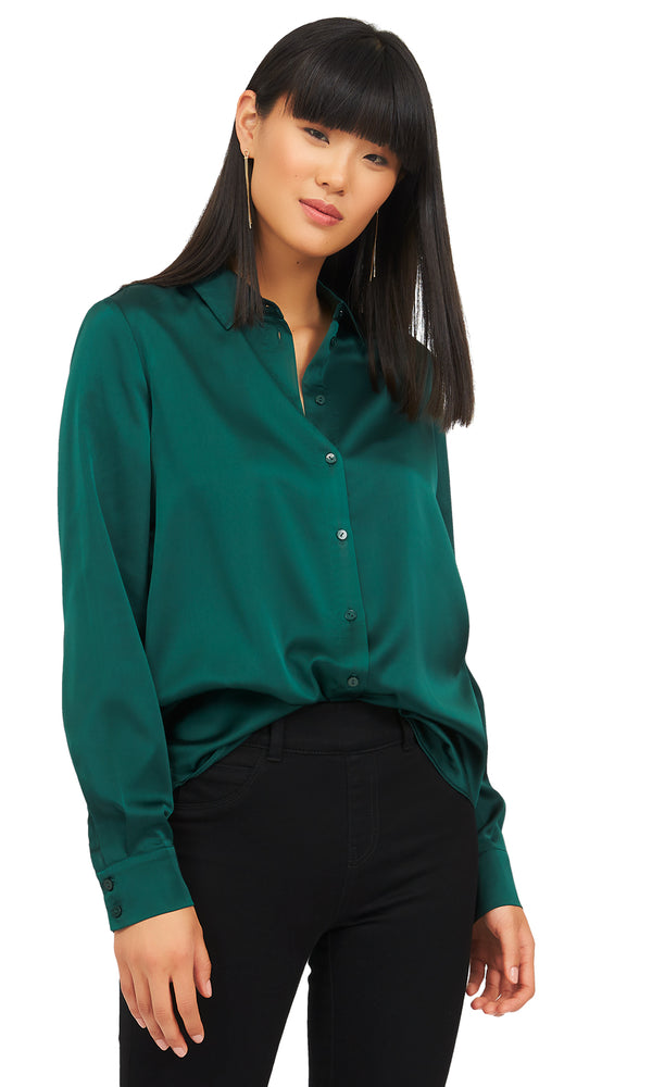 Long Sleeve Satin Sheen Blouse