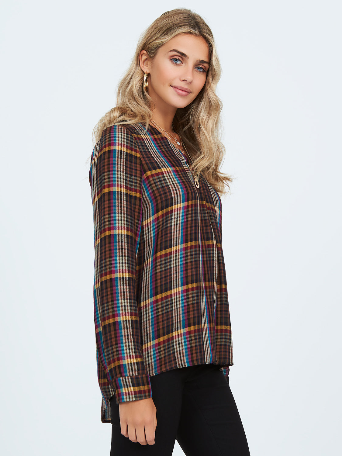 Plaid Cuffed Sleeve Top With Pleats