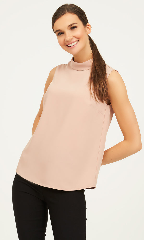 Sleeveless Crepe Mock Neck Top