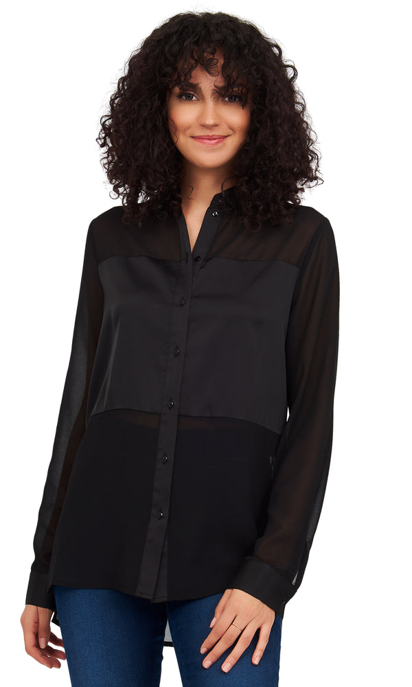 Chiffon & Satin Combo Button-Down Blouse
