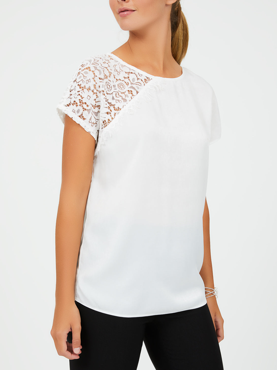 Lace Short Sleeve Satin Blouse