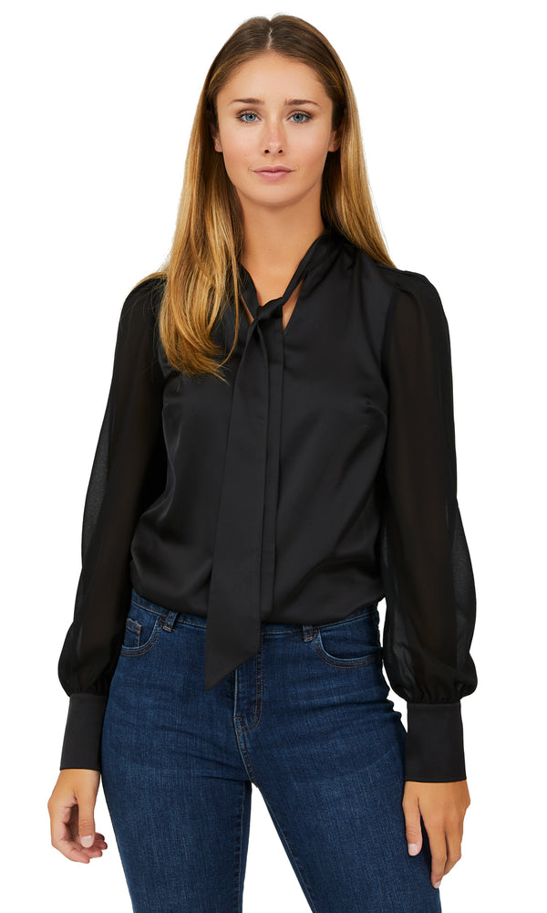 Long Sleeve Satin Blouse With Neck Tie