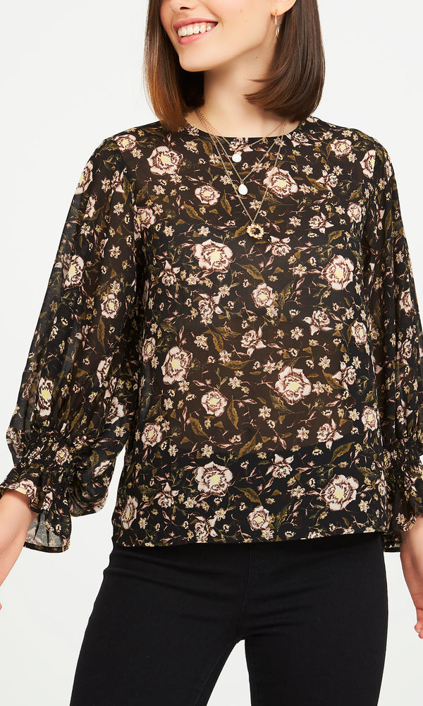 ¾ Balloon Sleeve Printed Chiffon Blouse