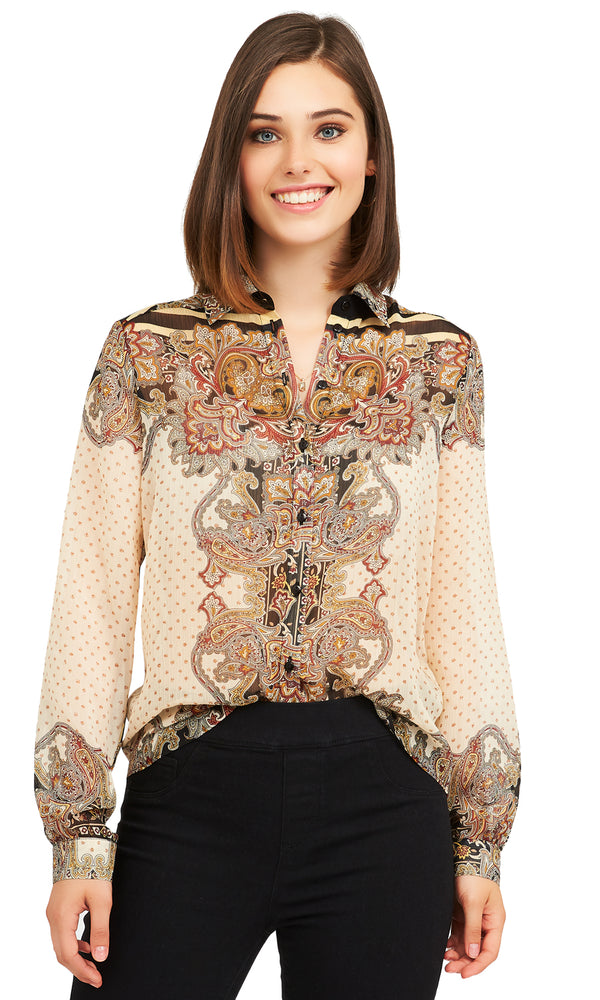 Paisley Print Button-Down Blouse