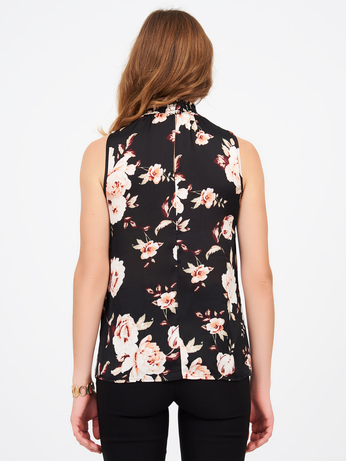 Sleeveless Crinkle Satin Floral Blouse