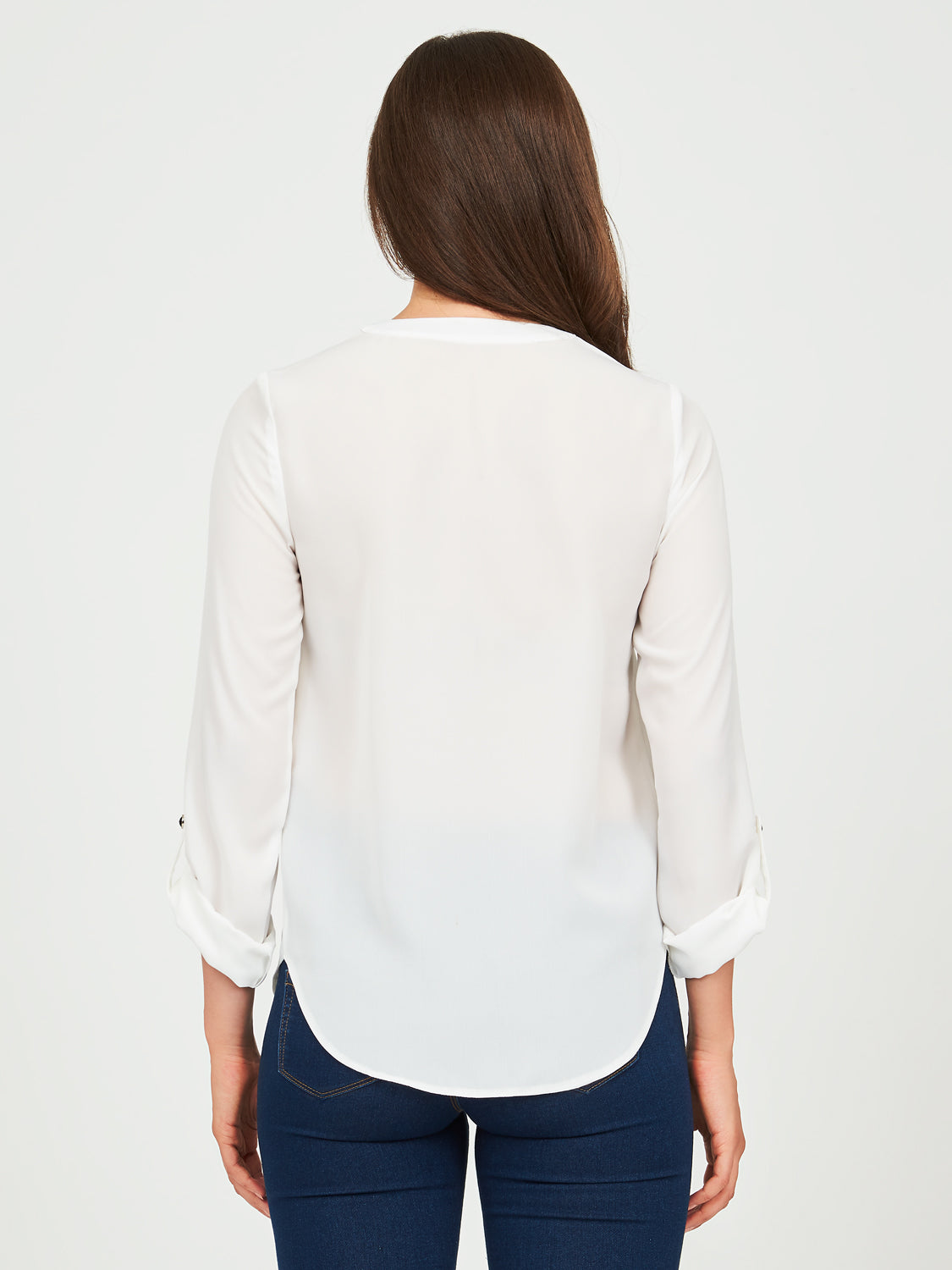 Long Sleeve Roll-Up Chiffon Blouse