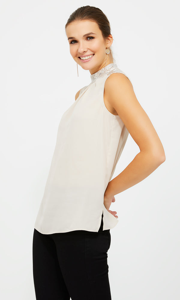 Sleeveless Glitter Mock Neckline Top