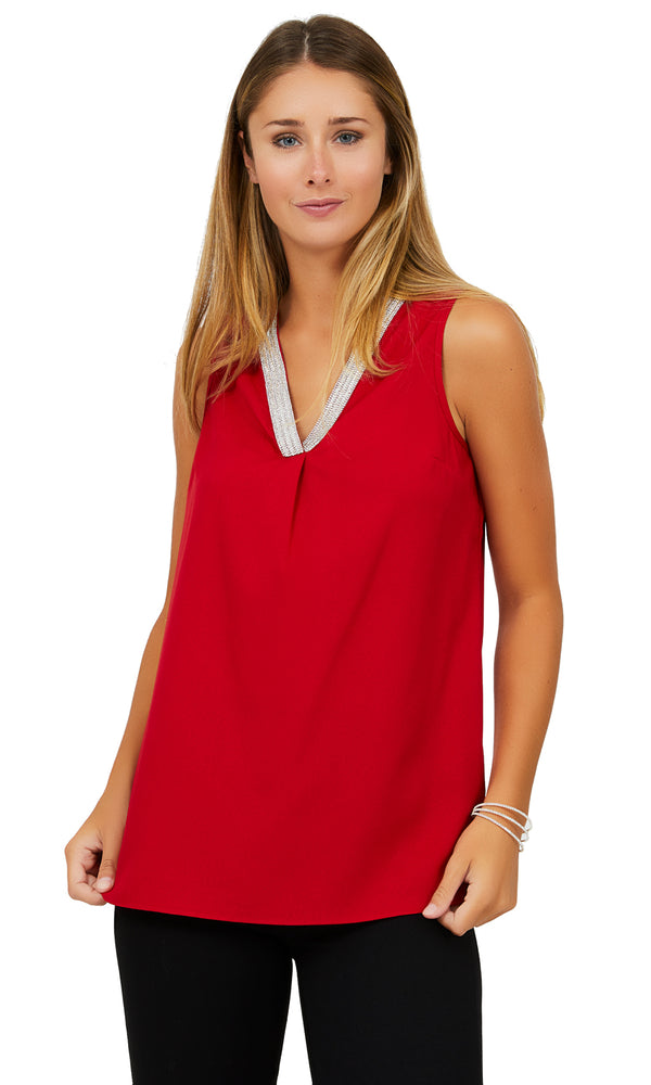 Sleeveless Crepe V-Neck Blouse with Rhinestones