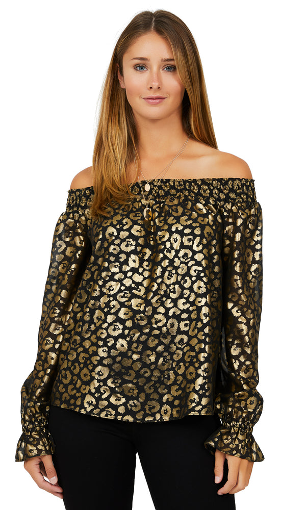 Off-The-Shoulder Foil Chiffon Top