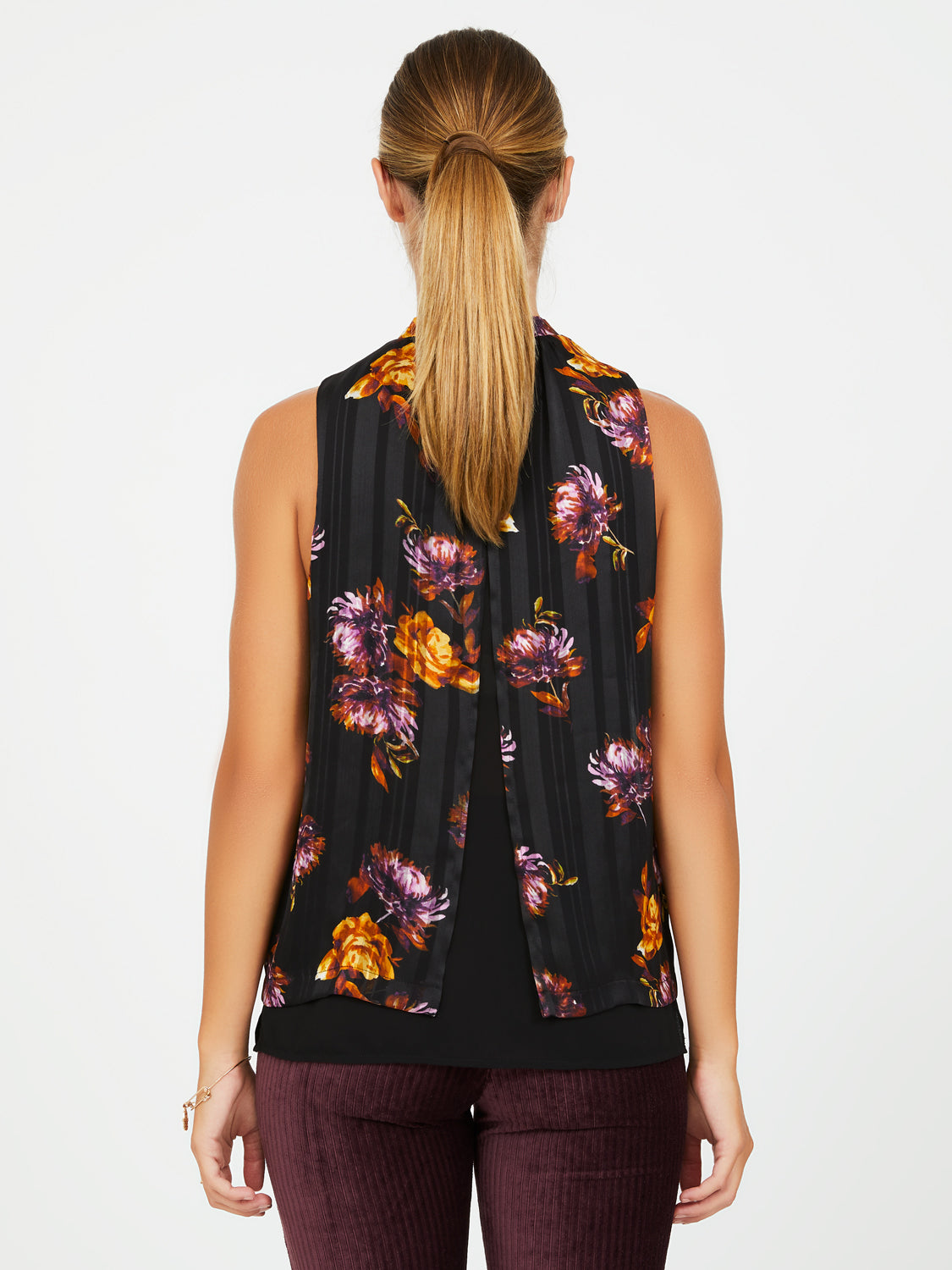 Printed Chiffon Mock Neck Top