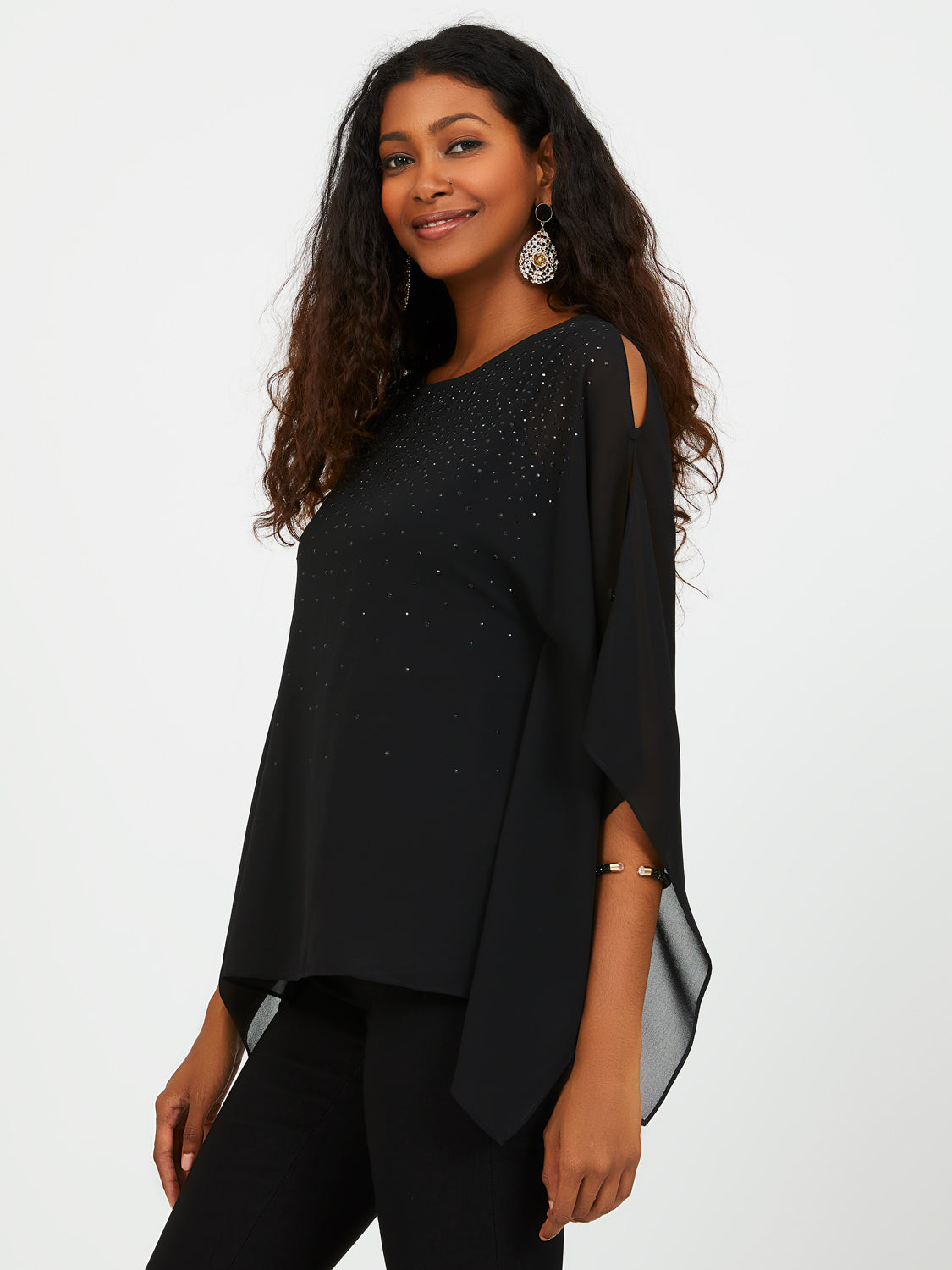 Crepe Chiffon Blouse with Cape Sleeves