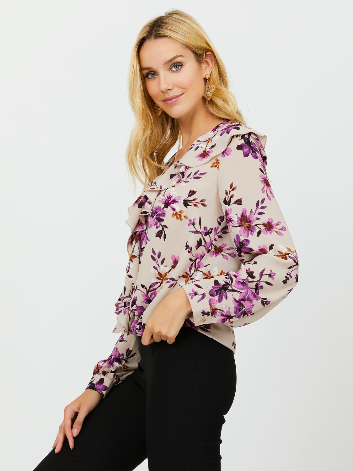 Long Sleeve Ruffled Collar Chiffon Blouse