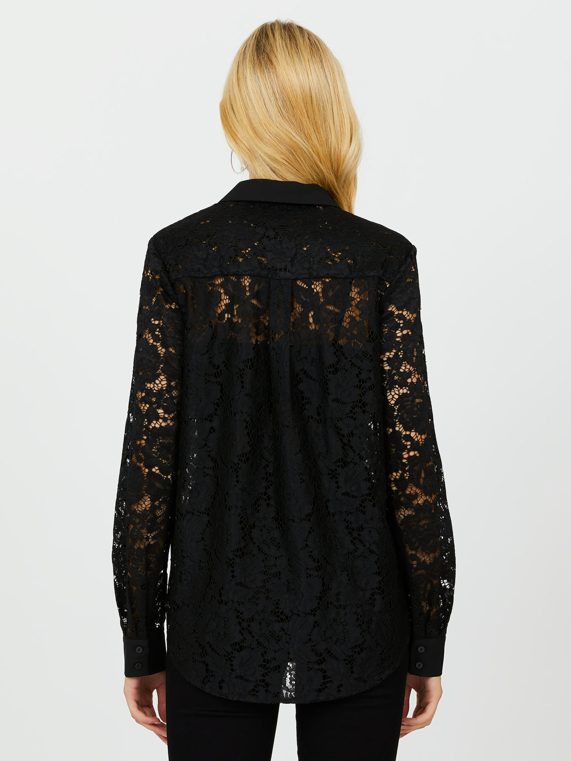 Allover Lace Button-Down Shirt