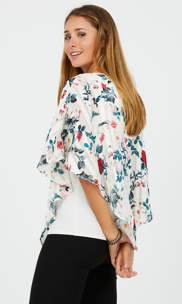 Printed Asymmetrical Slit Cape Sleeves Chiffon Blouse