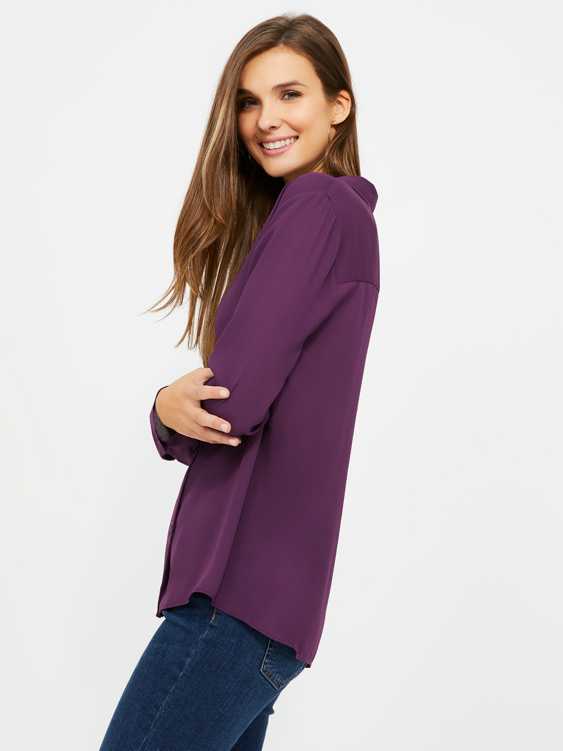 Button-Down Notch Collar Shirt
