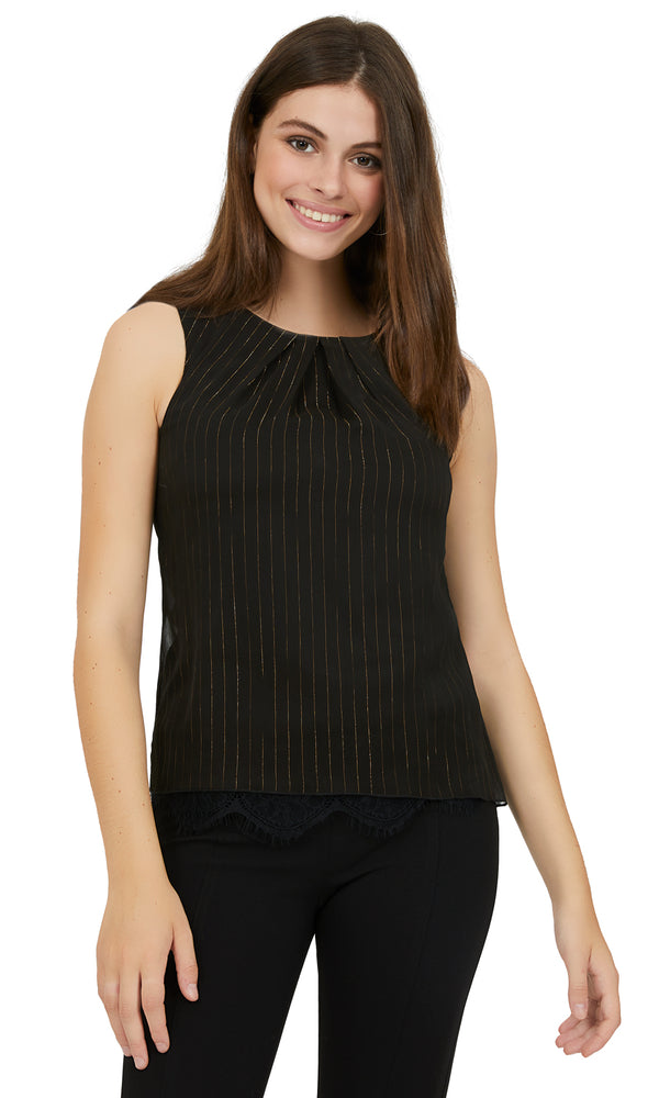 Sleeveless Metallic Stripe Pleated Top