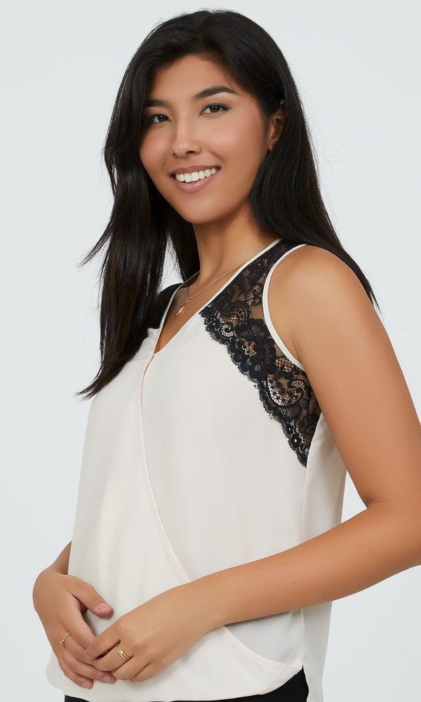 Sleeveless Contrast Lace Bubble Top