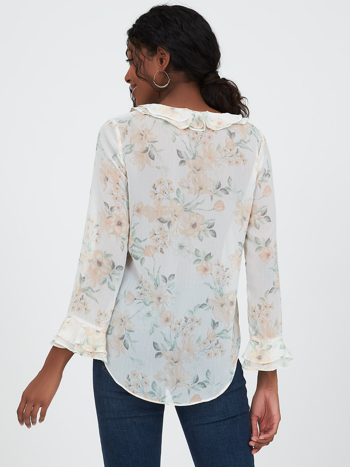 Ruffled Sleeve Popover Collar Blouse