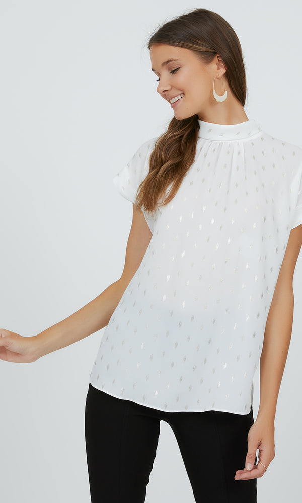 Short Sleeve Mock Neck Chiffon Top