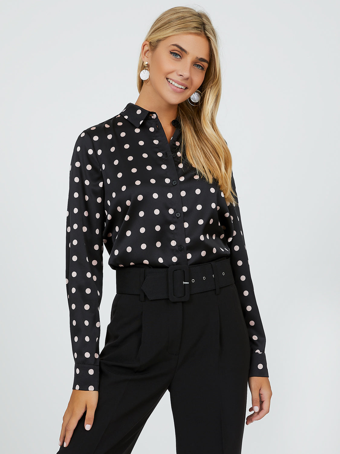 Polka Dot Satin Dress Shirt