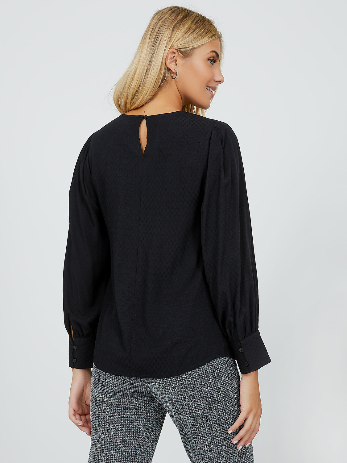Trendy Puff Sleeve Crepe