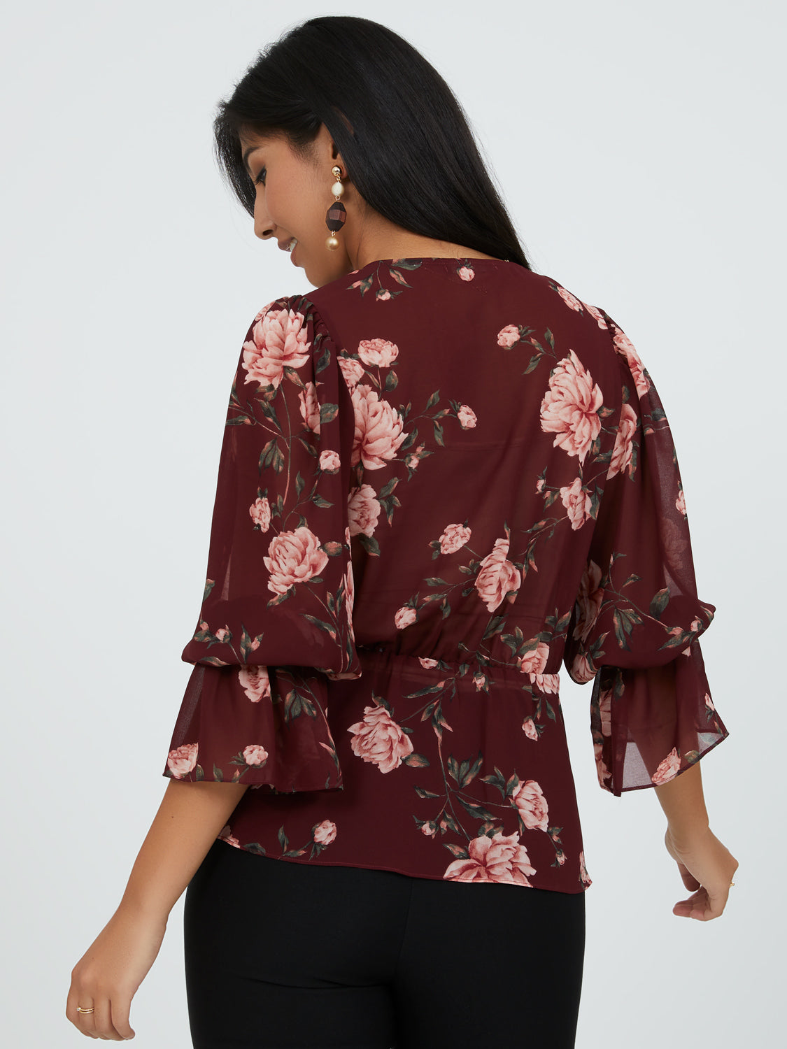 Cheerful Bell Sleeve Floral Peplum Top
