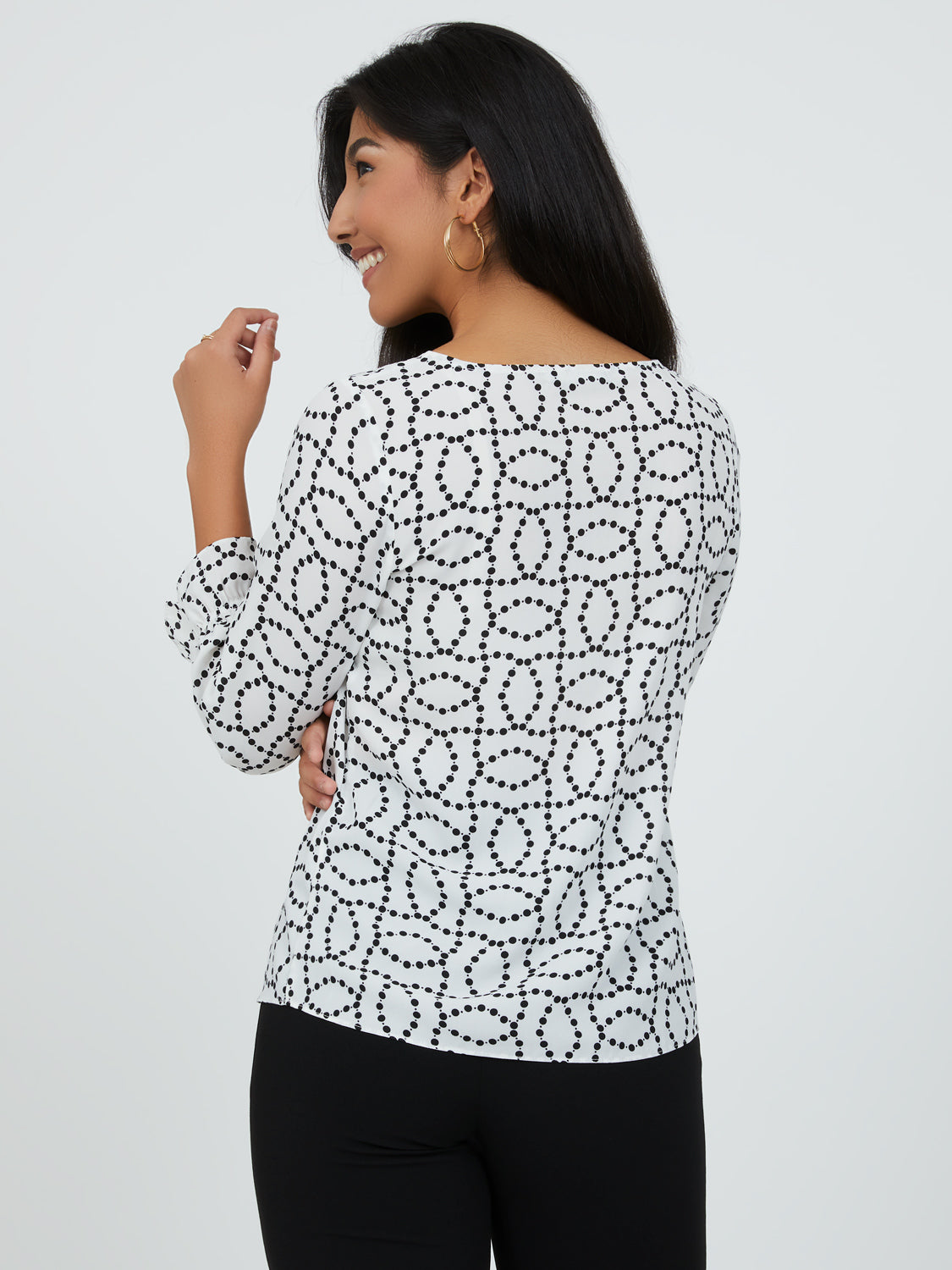 ¾ Sleeve Printed Chiffon Top