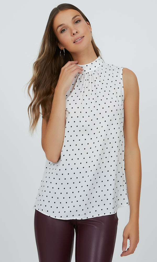Sleeveless Polka Dot Mock Neck Top