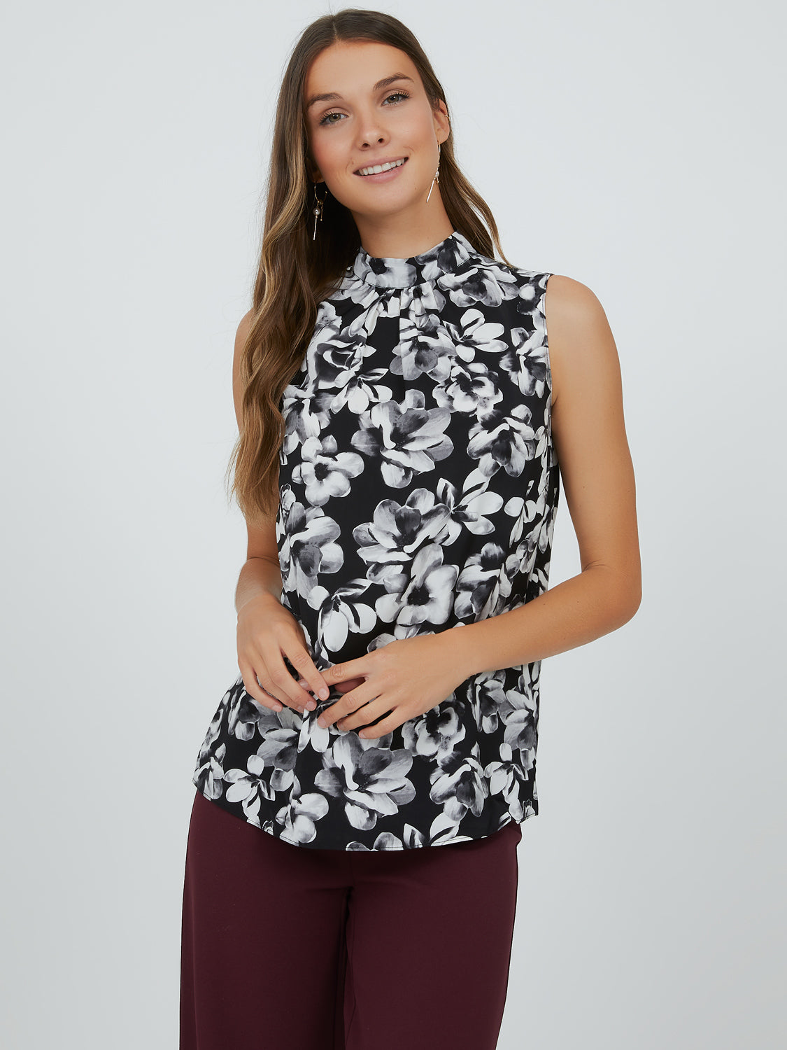 Floral Mock Neck Satin Top