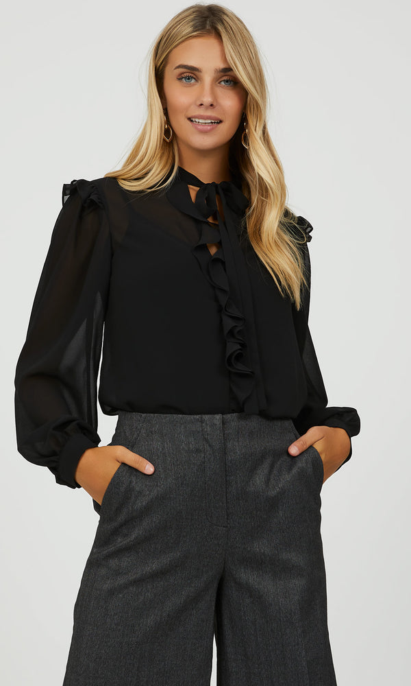 Tie Neck Ruffle Front Top