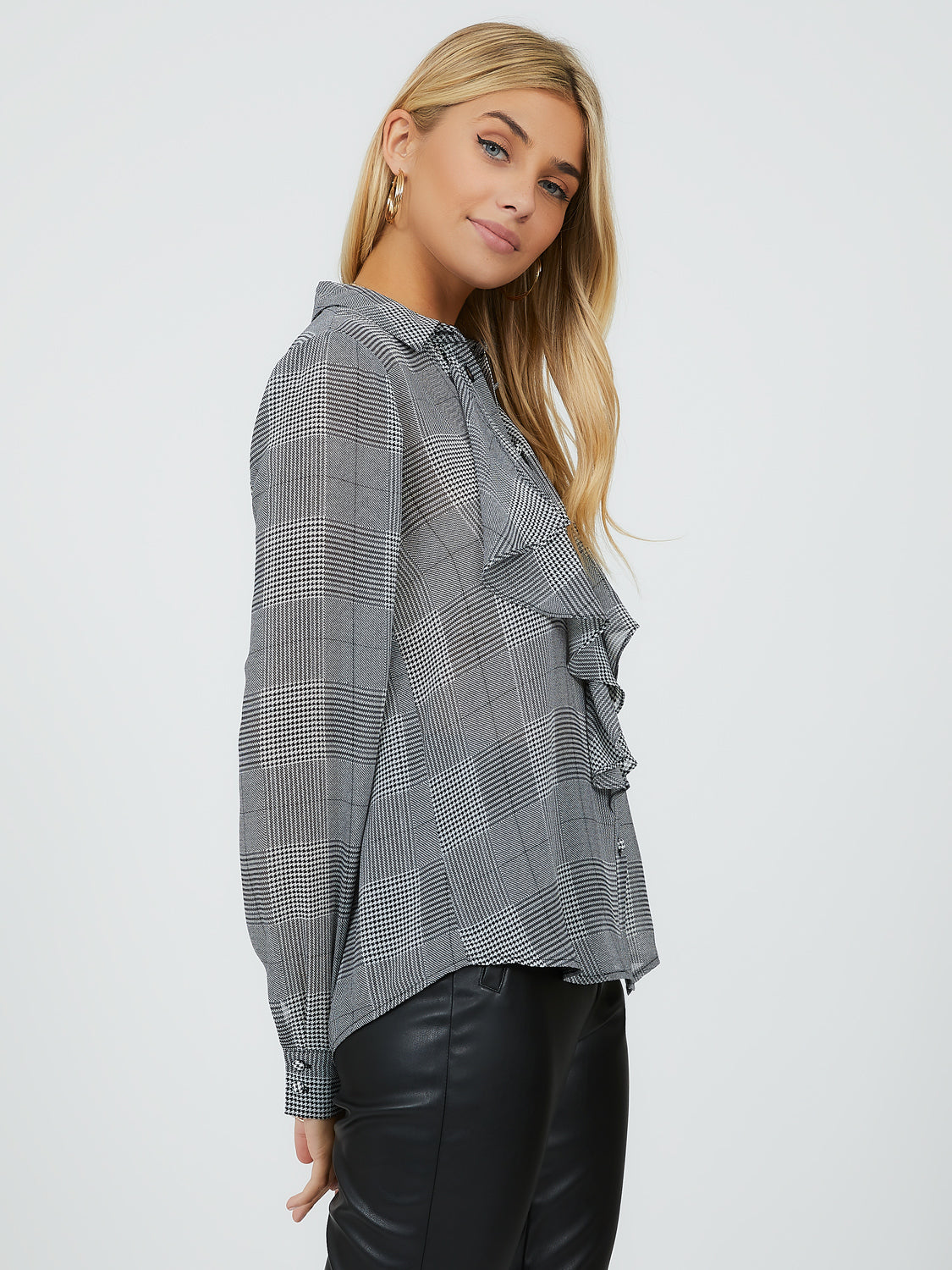 Button-Down Ruffle Front Blouse