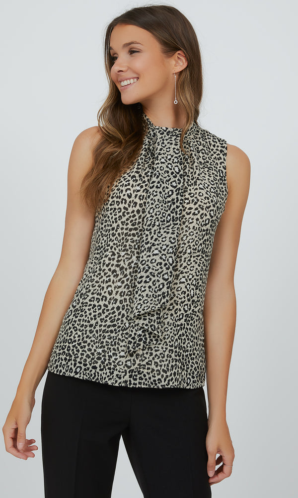Sleeveless Animal Print Tie Neck Top