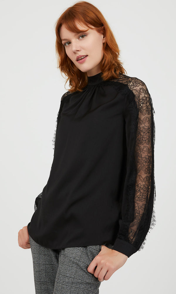 Satin Mock Neck Lace Sleeve Blouse