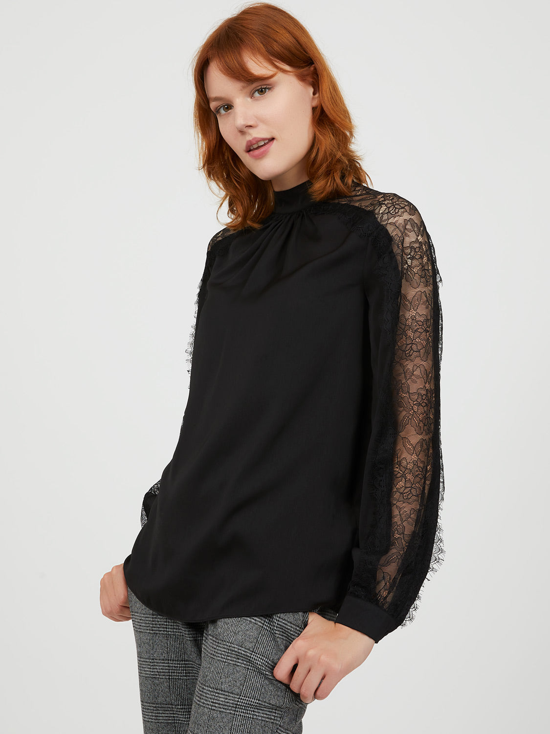 Satin Mock Neck Lace Sleeve Top