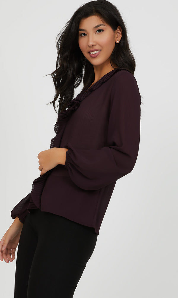 Pleated Collar V-Neck Blouse