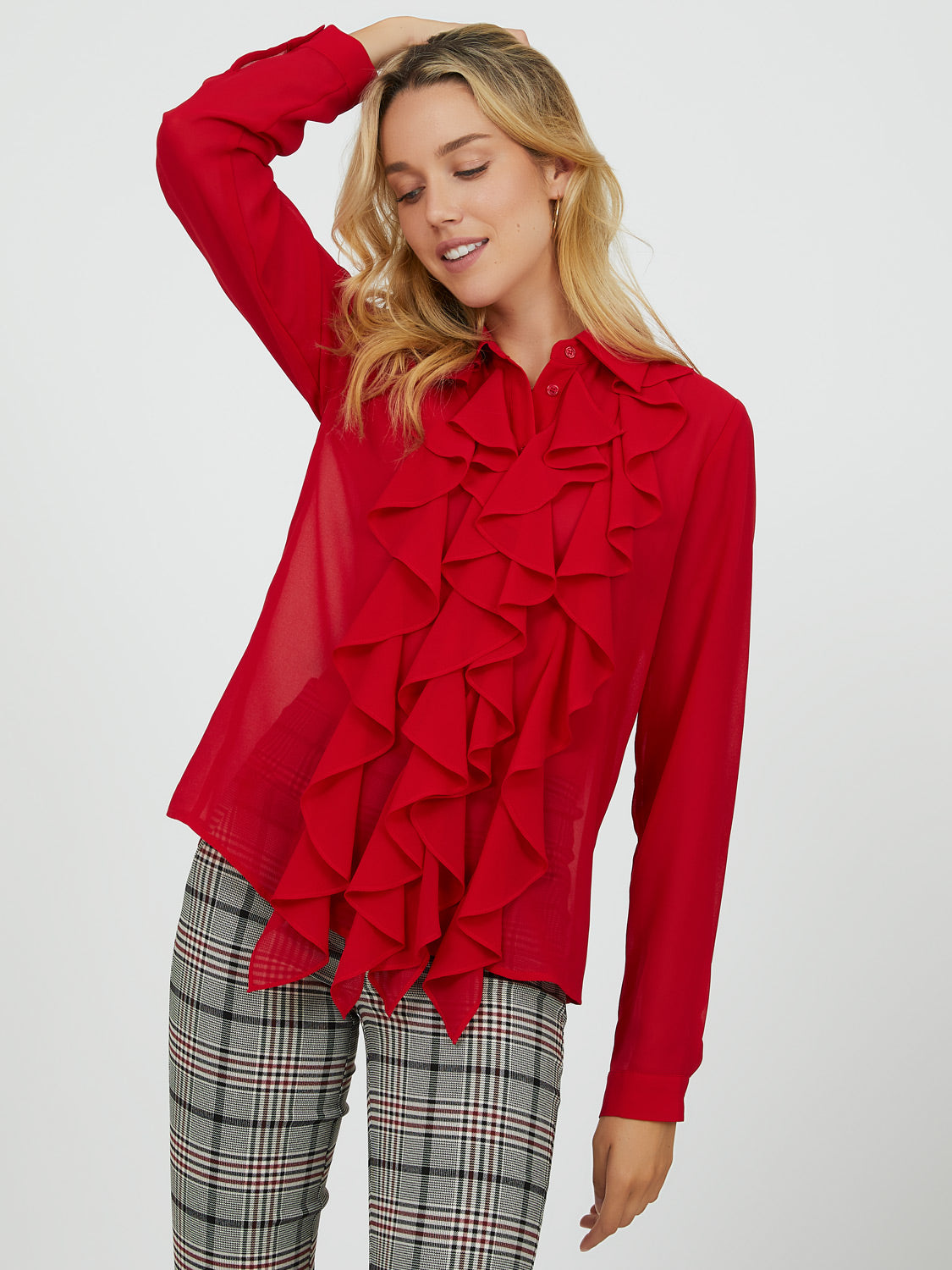 Ruffled Shirt Collar Blouse