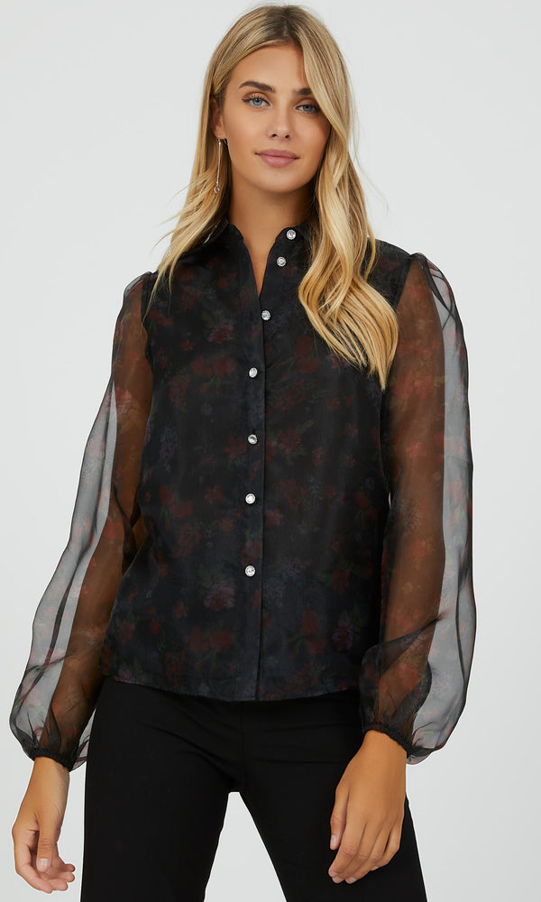 Organza Puff Sleeve Button-Down Blouse