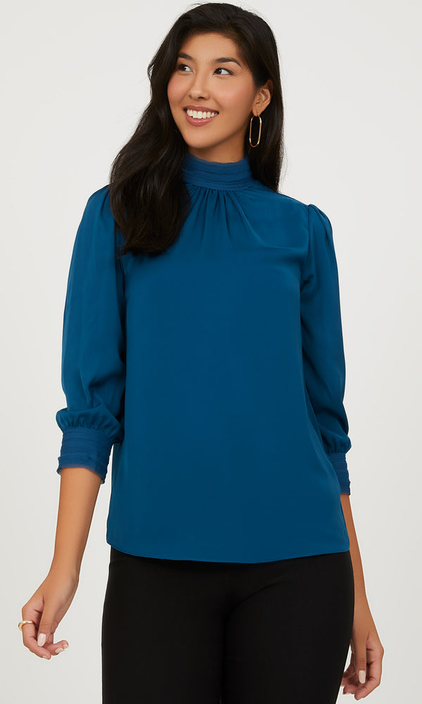 Satin Mock Neck Top