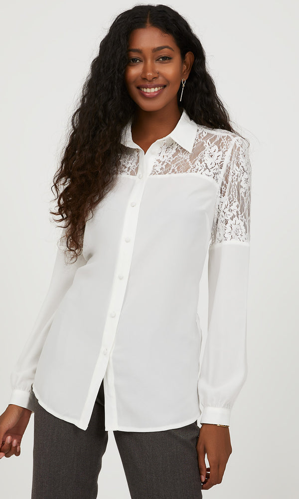Shirt Collar Lace Trim Blouse