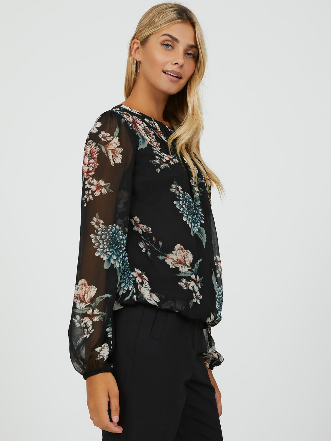 Sheer Sleeve Floral Blouse