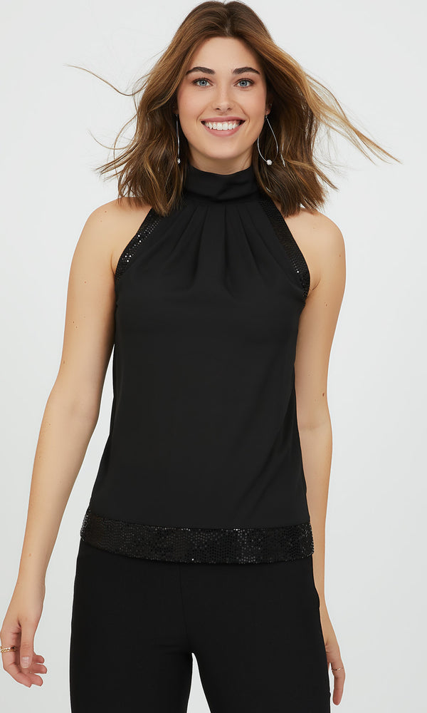 Chiffon Halter Top with Sequin Details