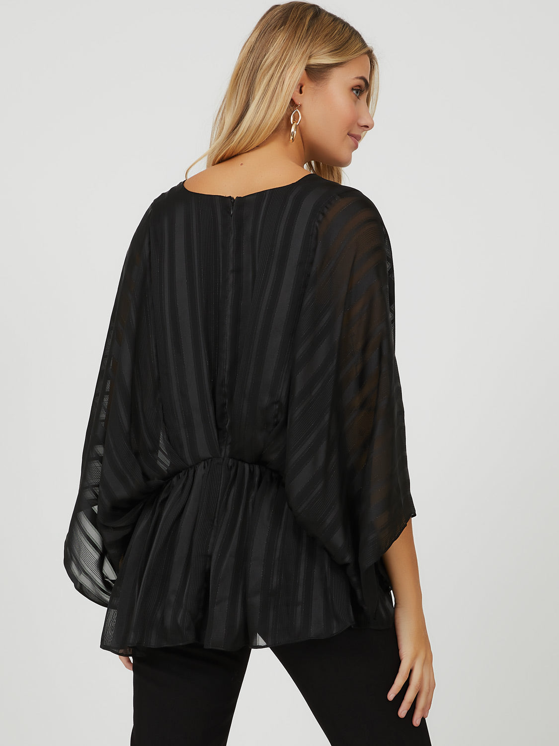 Shadow Stripe Chiffon Blouse
