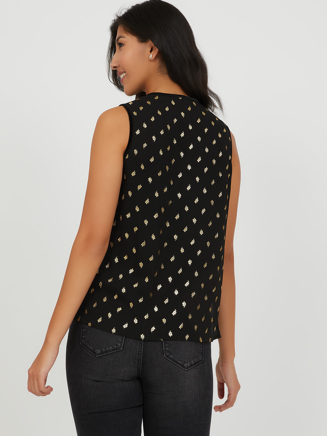 Sleeveless Foil Print Top
